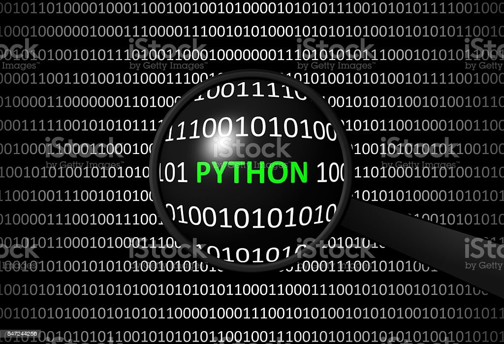 Binary code with PYTHON and magnifying lens stock photo