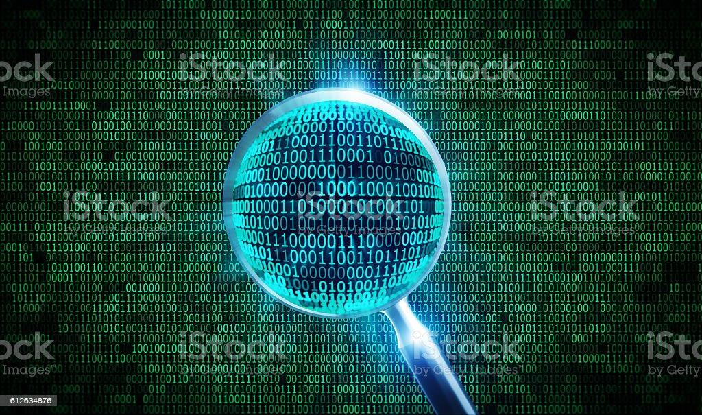 binary codea nd magnifier stock photo