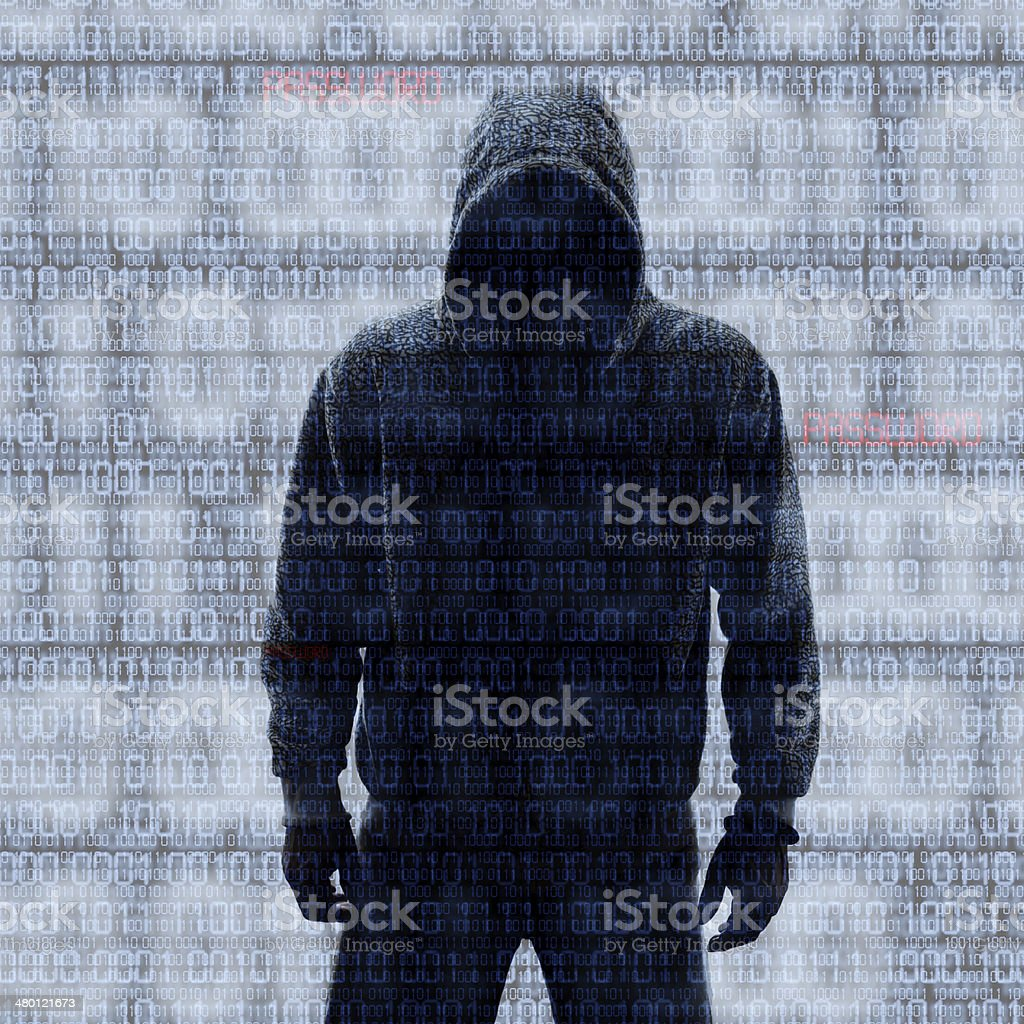 Binary codes with hacked password stock photo