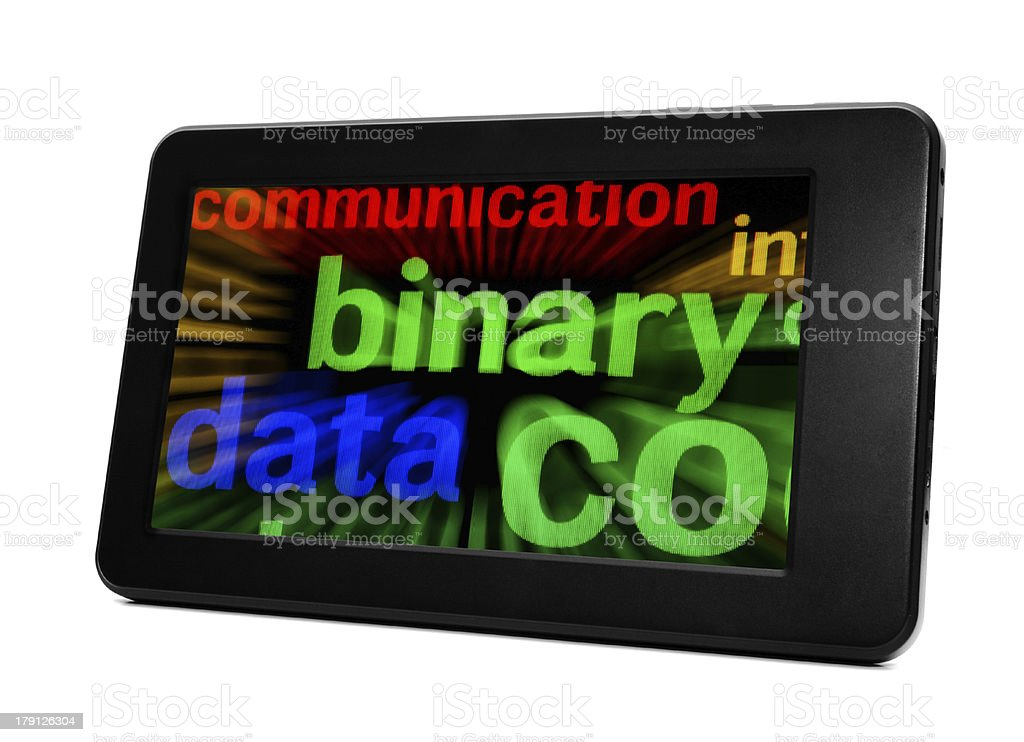 Binary data on pc tablet royalty-free stock photo