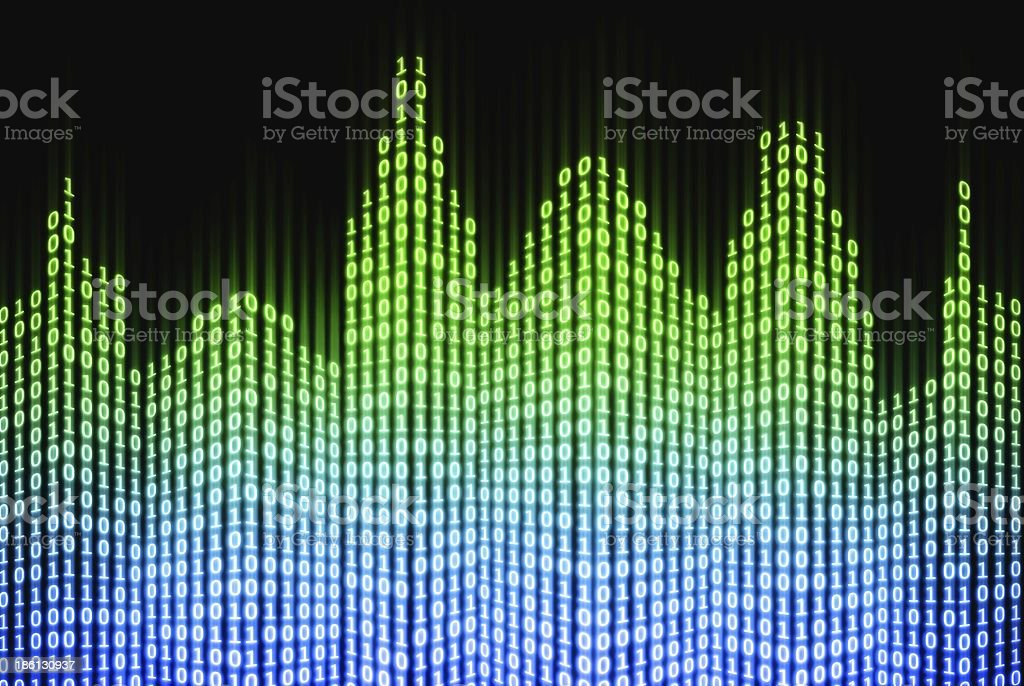 Binary digital city, abstract 3d tech background stock photo