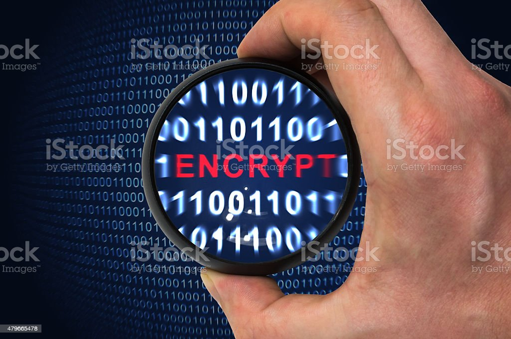 Binary encrypted code with encrypt word inside stock photo