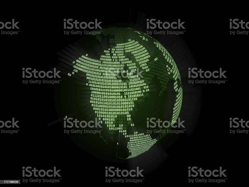 Binary World Globe (North America) royalty-free stock photo