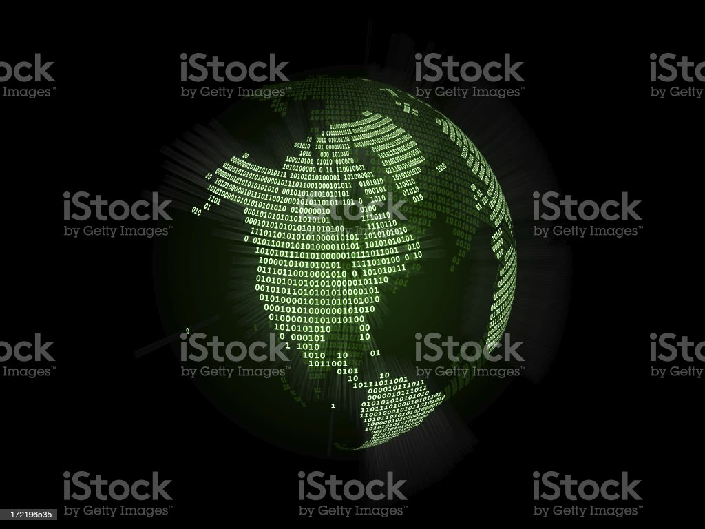 Binary World Globe (North America) stock photo