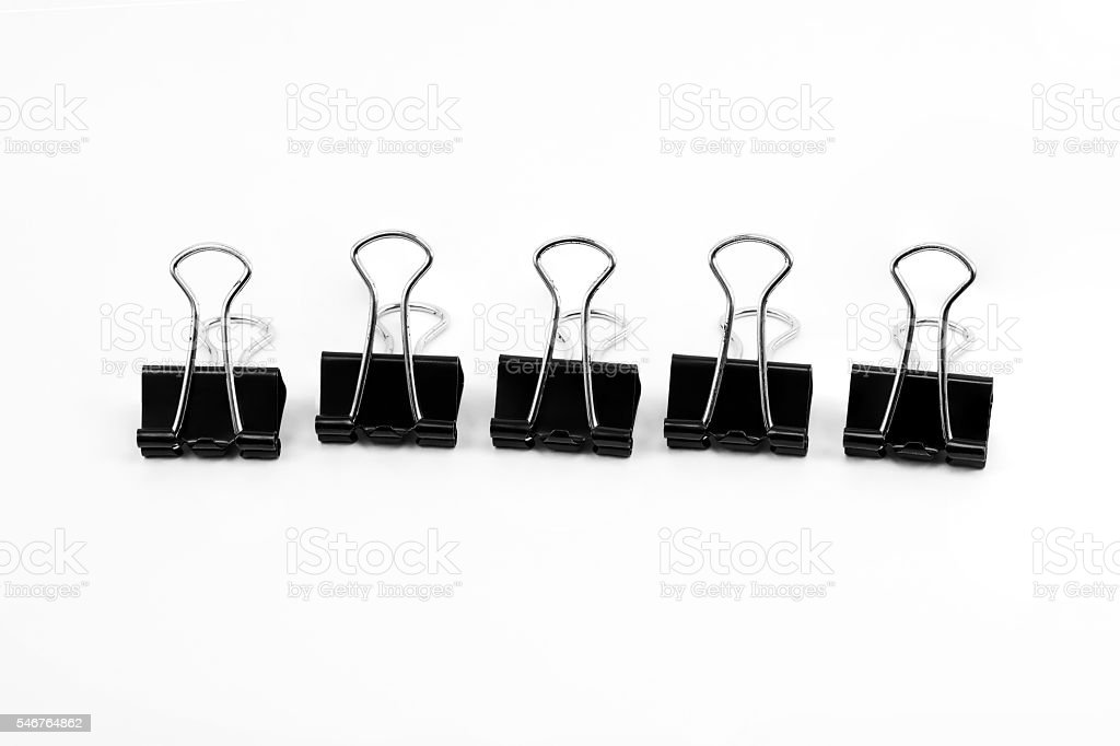 Binder clip, Paper clip isolated on white background stock photo