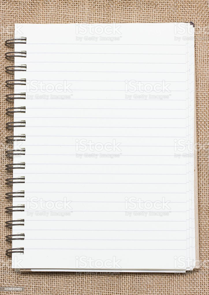 Binder notebook on sack background. royalty-free stock photo