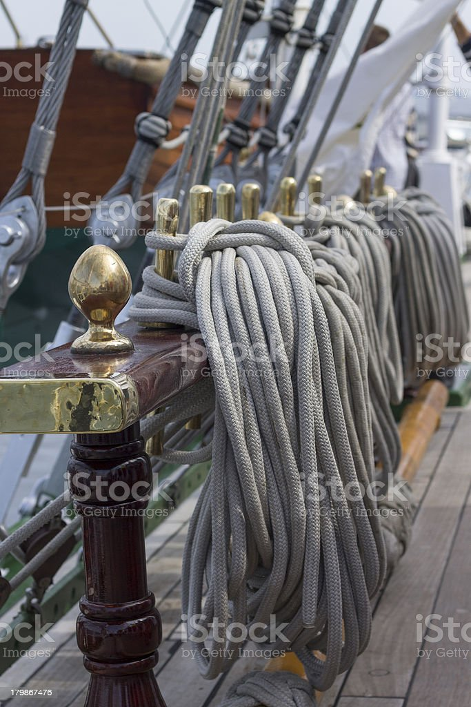 Binding of ropes on a sailing ship royalty-free stock photo