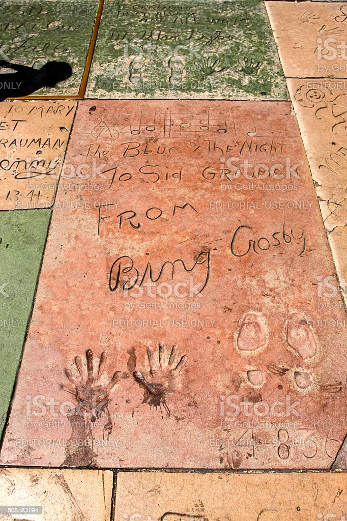Bing Crosby hand and shoe prints in Hollywood CA stock photo
