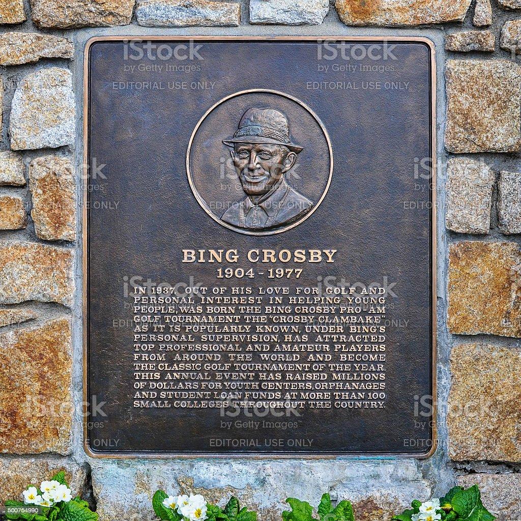 Bing Crosby Plaque, Pebble Beach, CA stock photo