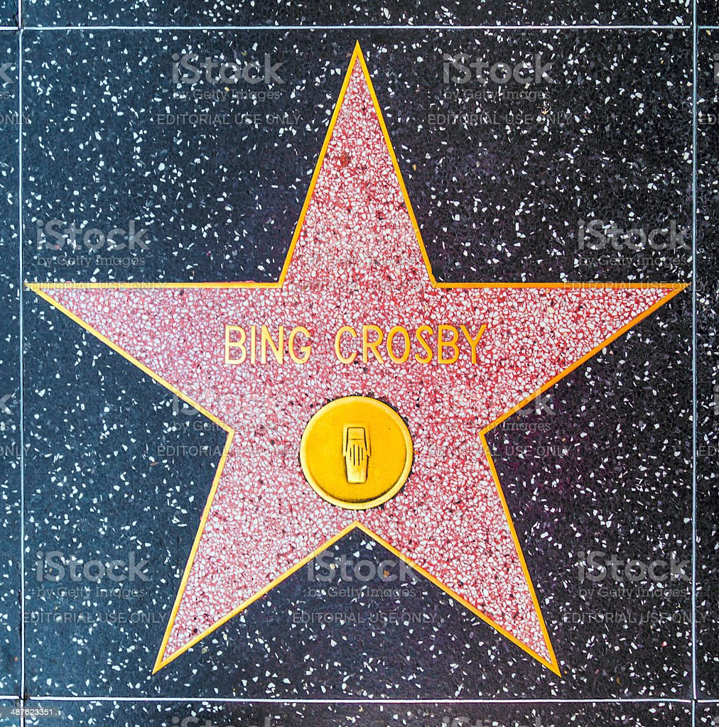 Bing Crosby's star on Hollywood Walk of Fame stock photo