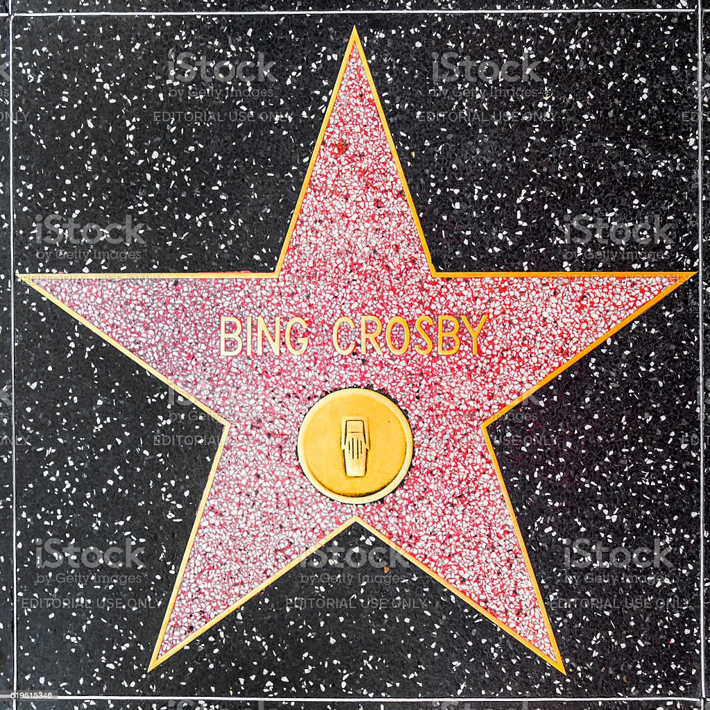 Bing Crosbys star on Hollywood Walk of Fame stock photo