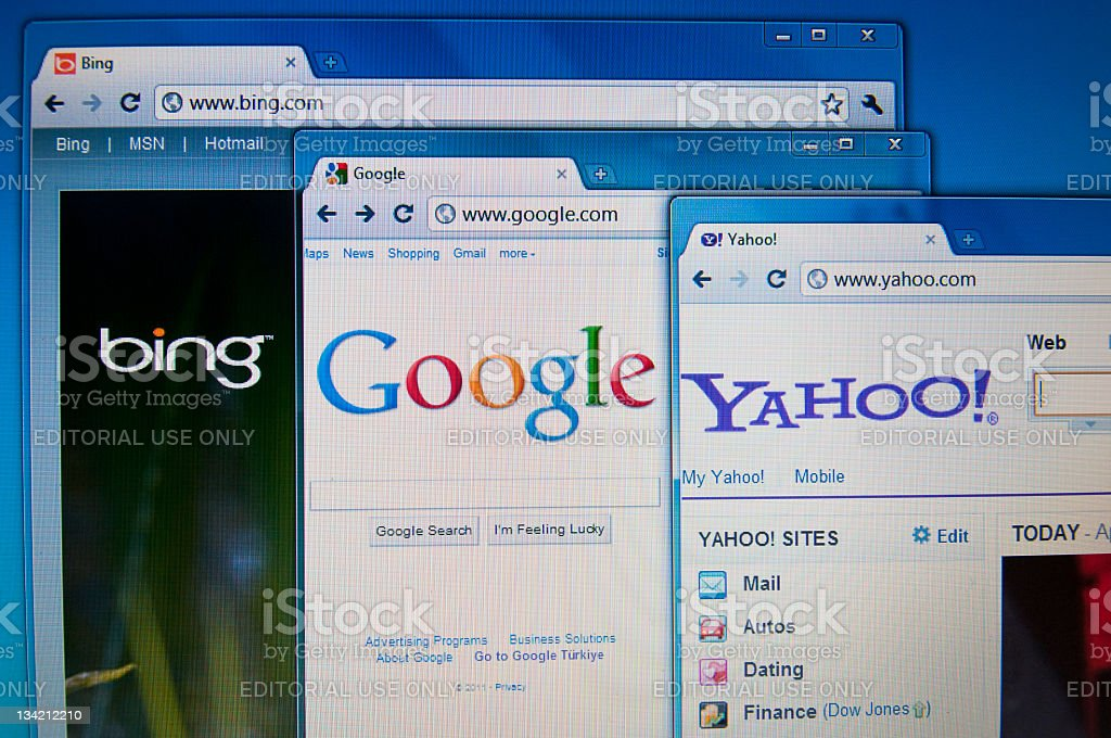 Bing, Google and Yahoo sites on Lcd screen stock photo