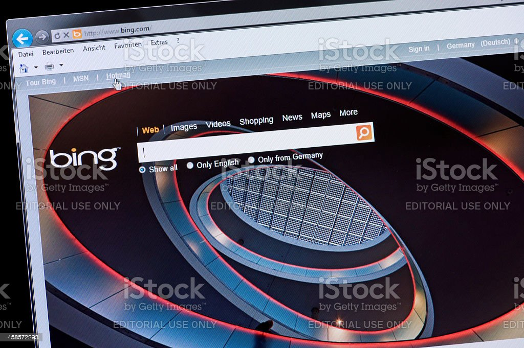 bing Microsoft - Macro shot of real monitor screen royalty-free stock photo
