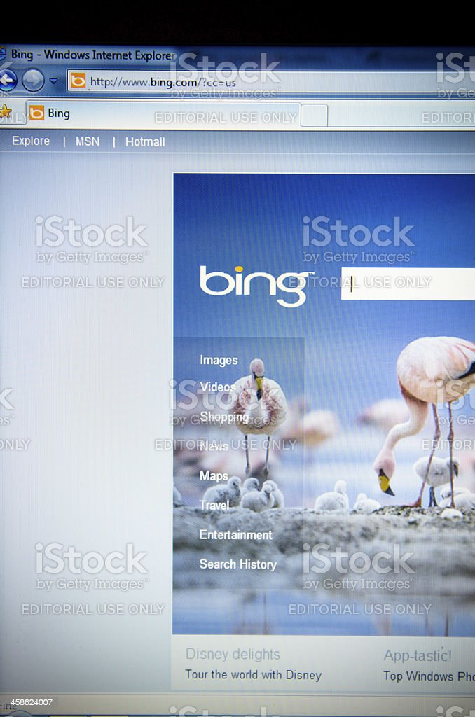 Bing.com search engine main page royalty-free stock photo