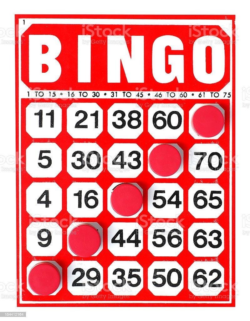 Bingo card with 5 markers making a diagonal Bingo royalty-free stock photo