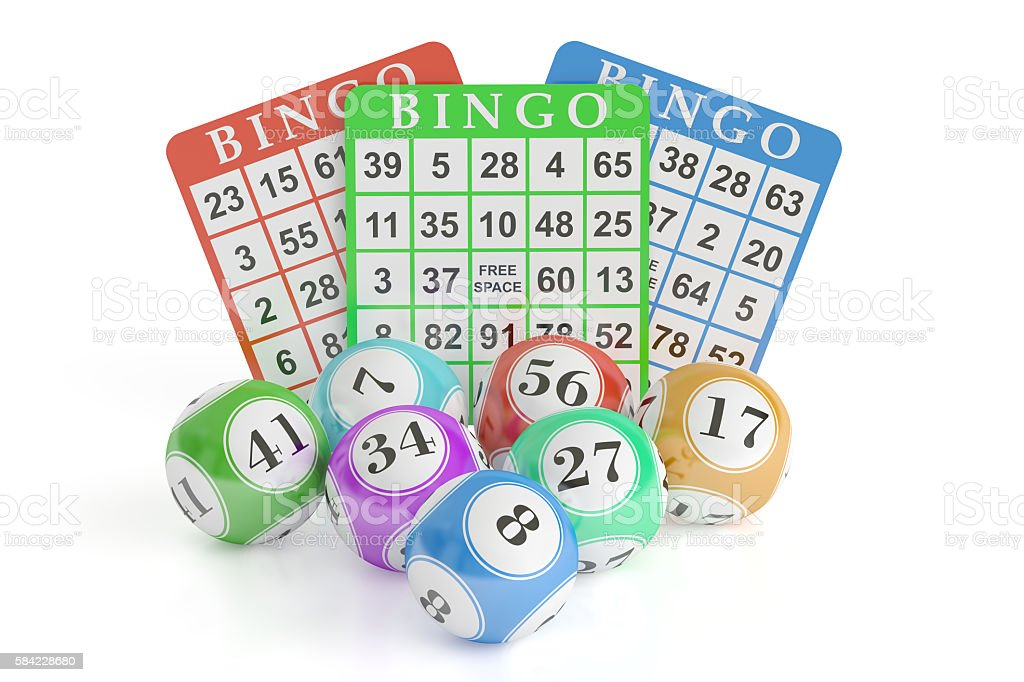 Bingo concept, lottery balls and cards. 3D rendering stock photo