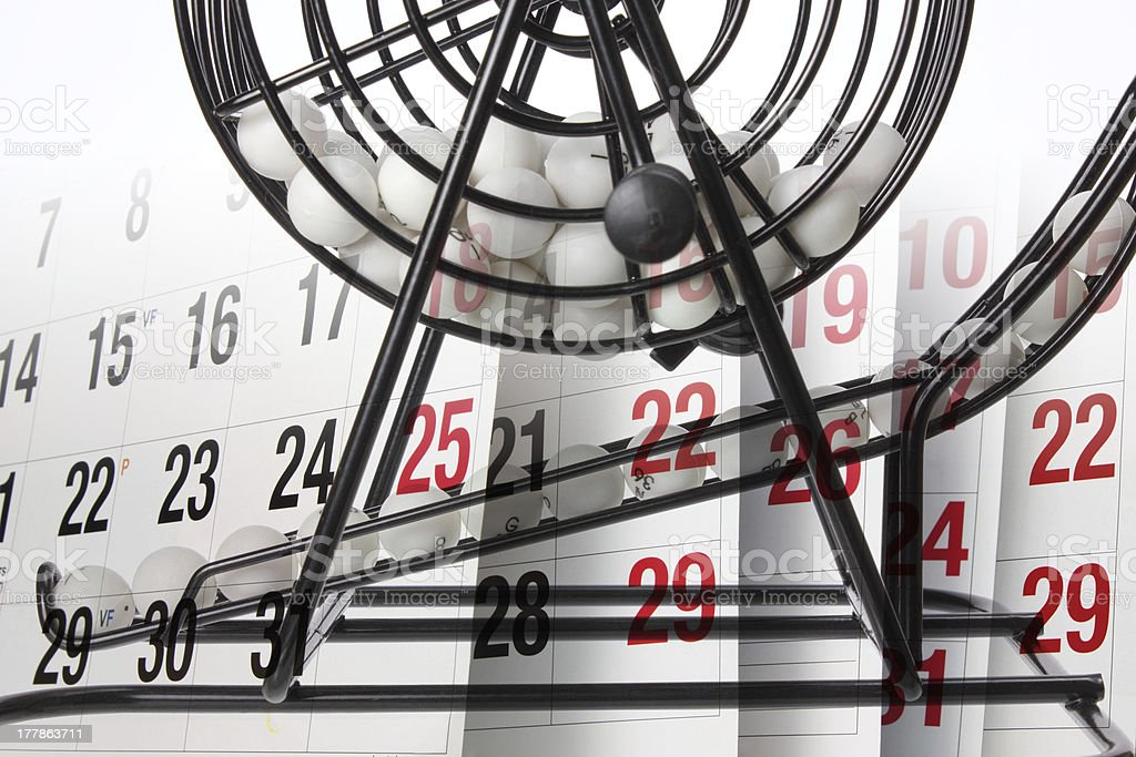 Bingo Game Cage and Calendar royalty-free stock photo