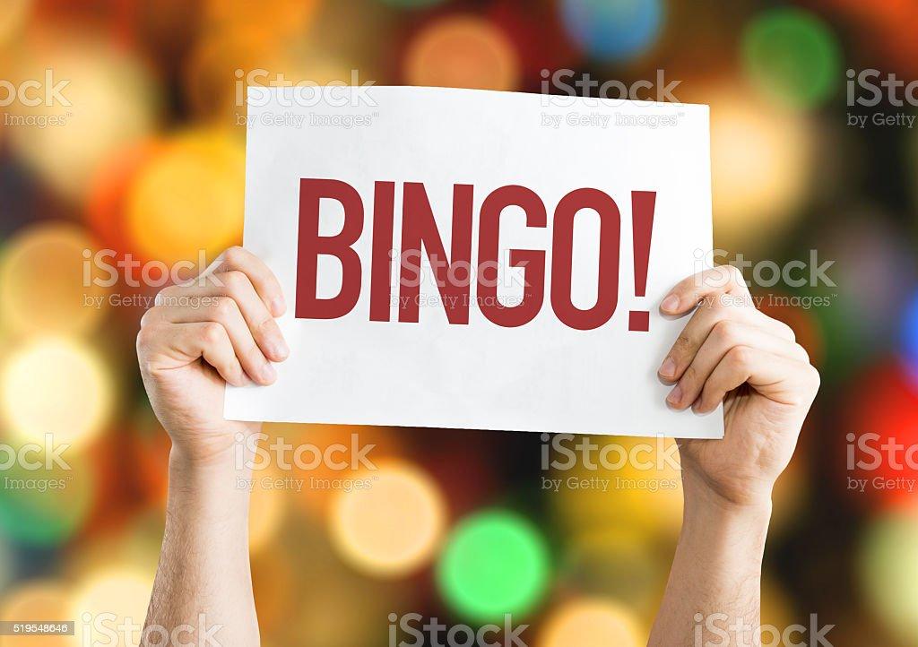 Bingo! placard with bokeh background stock photo