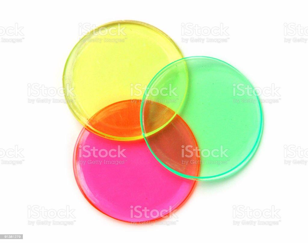 Bingo Trinity: Three Overlapping Plastic Discs royalty-free stock photo