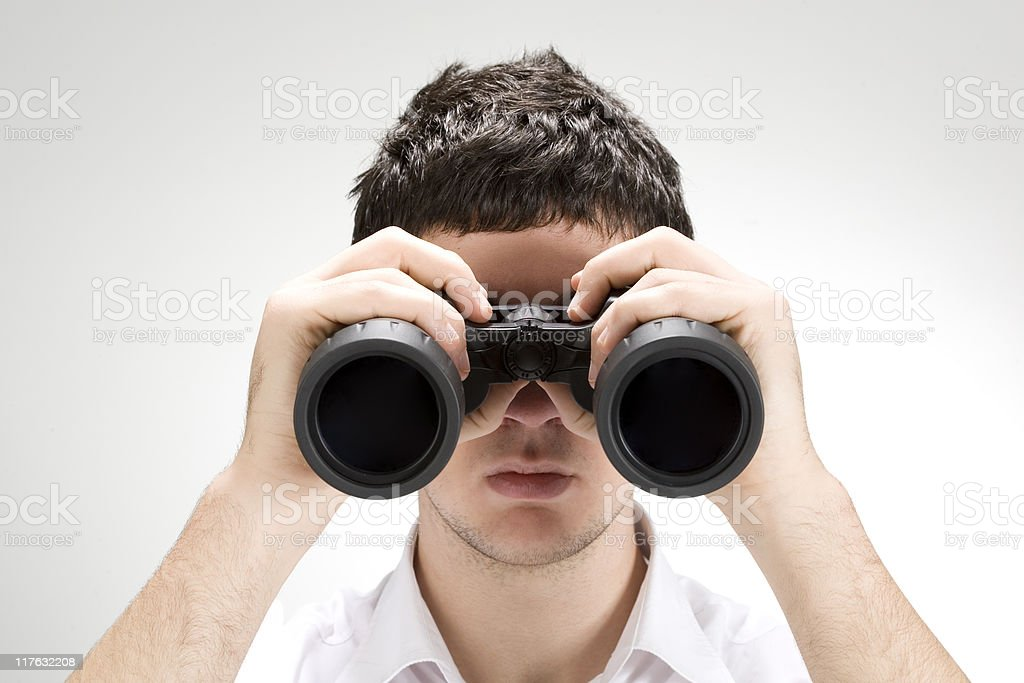 binocular and young man royalty-free stock photo