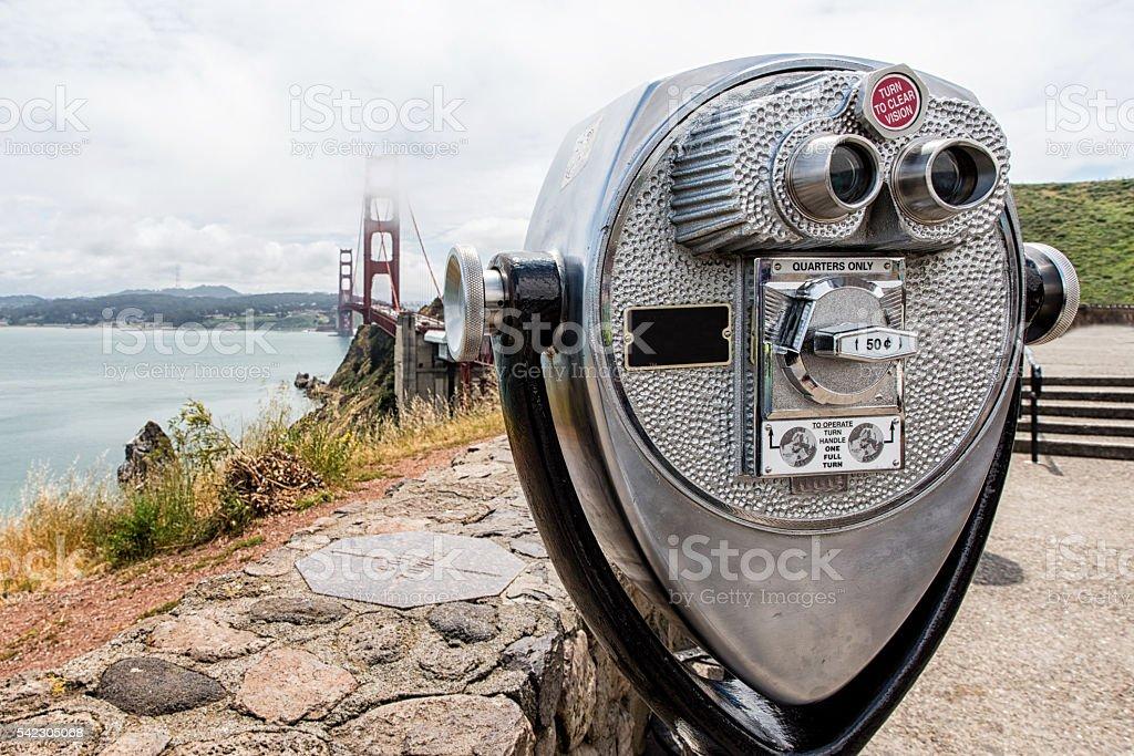 binocular at golden gate. stock photo
