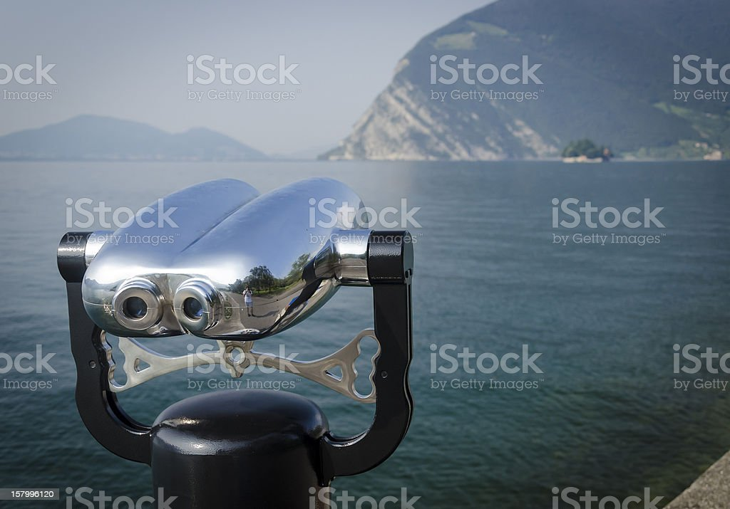 Binocular at lake Iseo, from Monte Isola stock photo