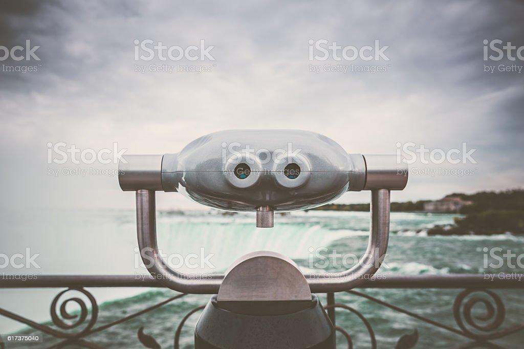 Binocular at Niagara Falls stock photo