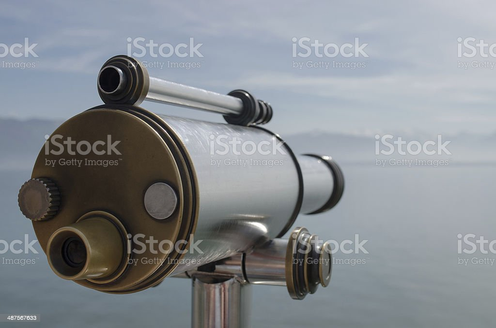 Binocular at the Bodensee with panoramic view. stock photo