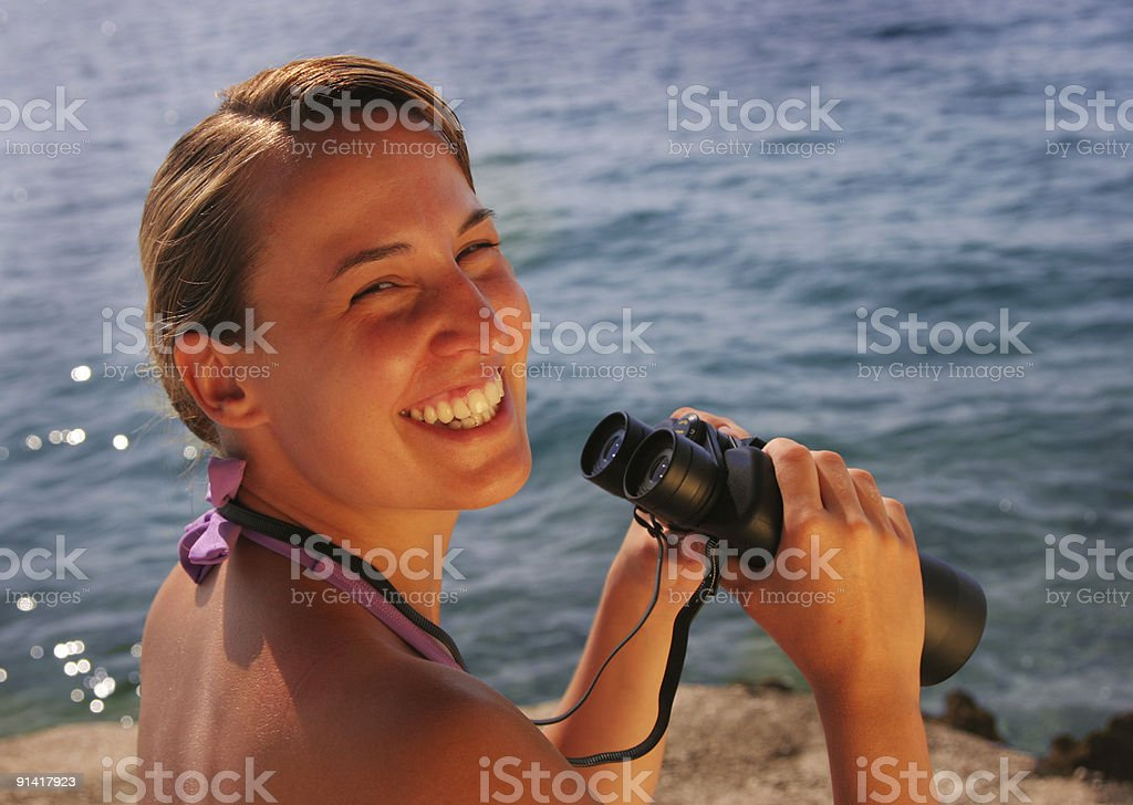 Binocular at the sea royalty-free stock photo