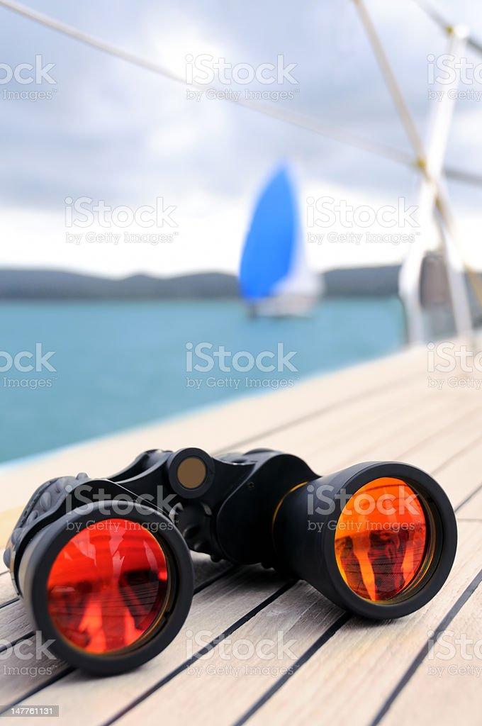 Binocular on the deck of yacht royalty-free stock photo