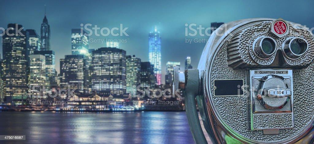 Binocular over nyc skyline royalty-free stock photo