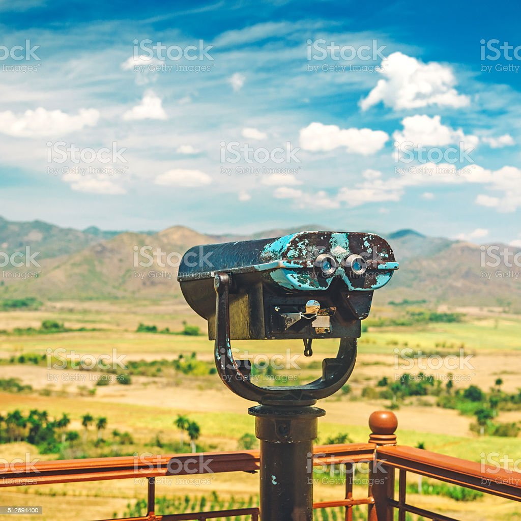 Binocular view on the mountains stock photo