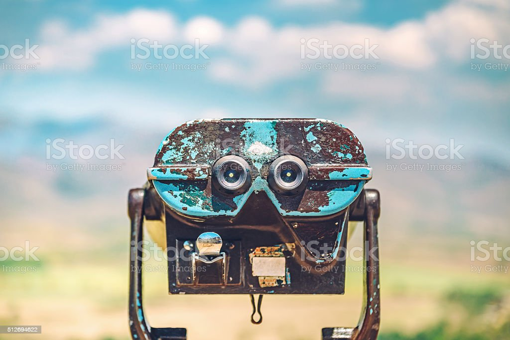 Binocular view on the mountains stock photo