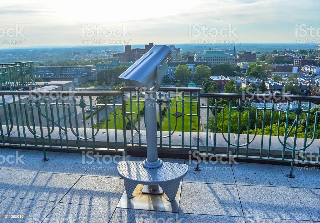 Binocular viewer St Joseph Oratory stock photo