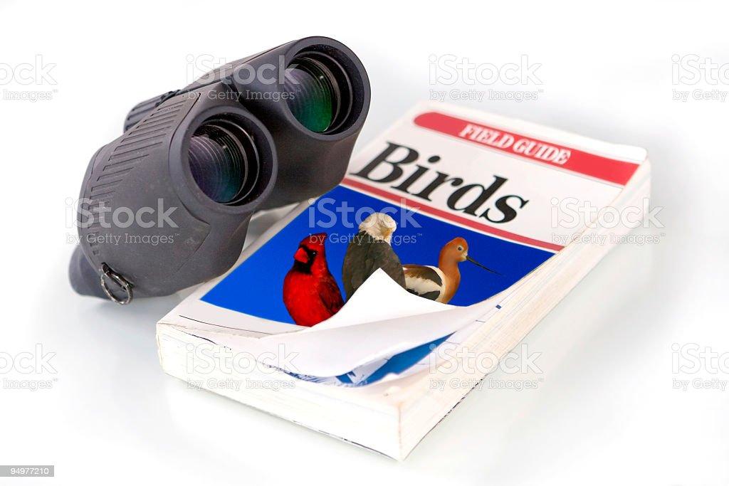 Binoculars & Birdwatching Field Guide stock photo