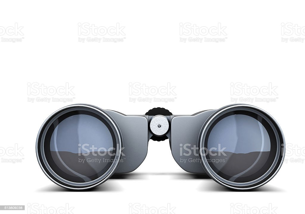 Binoculars closeup isolated on white backgroundю 3d rendering stock photo