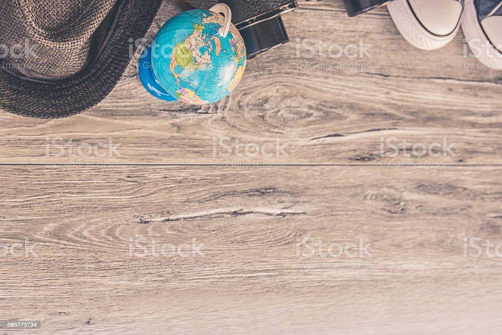 Binoculars, hat and globe - travel concept stock photo
