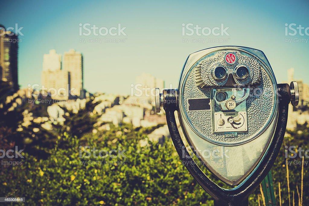 Binoculars in Viewpoint of San Francisco, California royalty-free stock photo