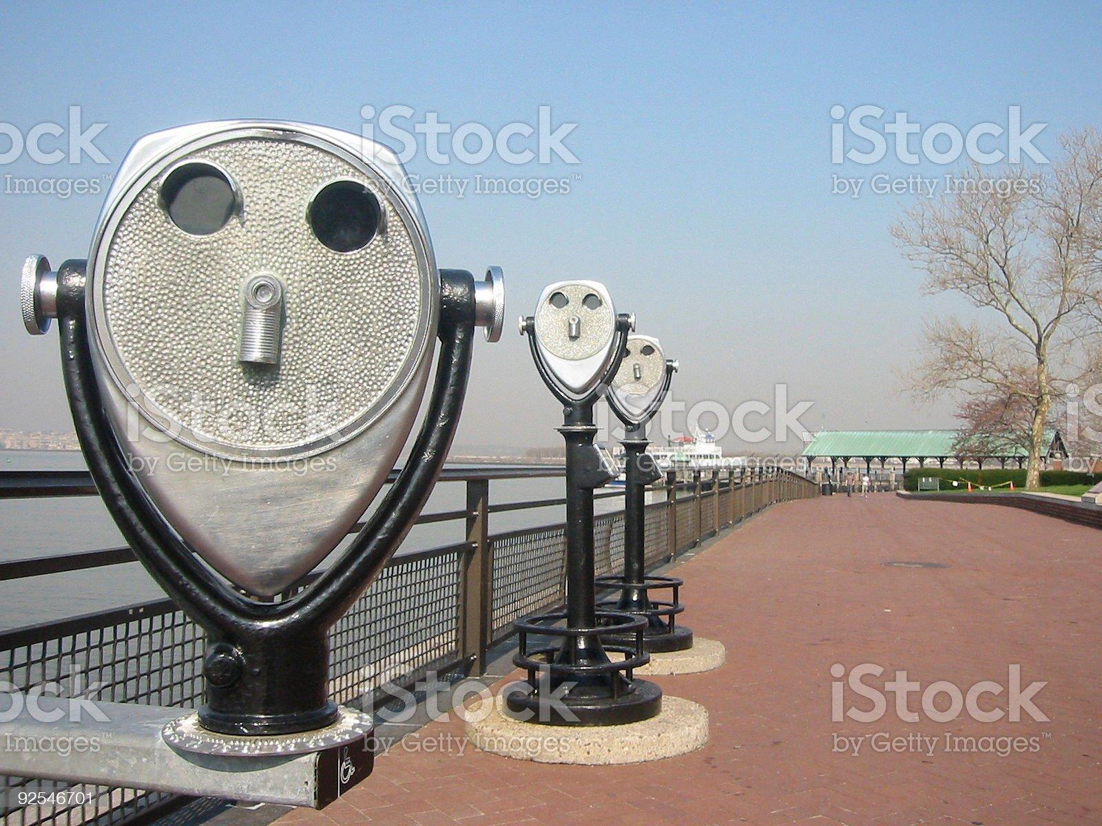 Binoculars on Liberty Island royalty-free stock photo