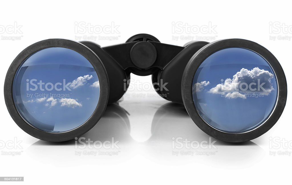 Binoculars Reflecting the Sky stock photo