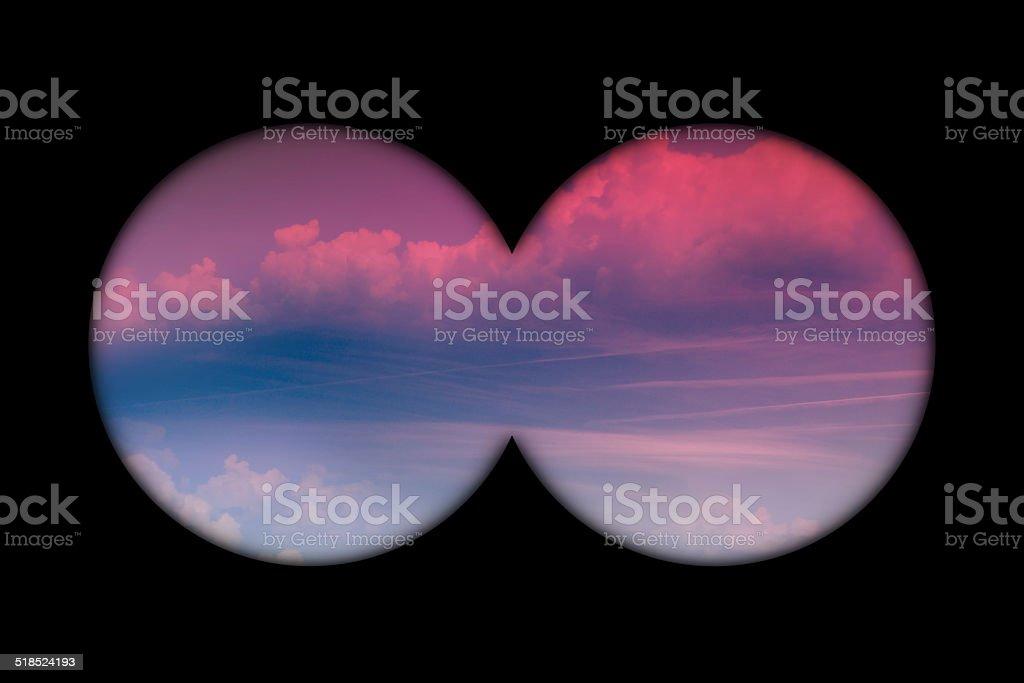 Binoculars view in the morning sky stock photo