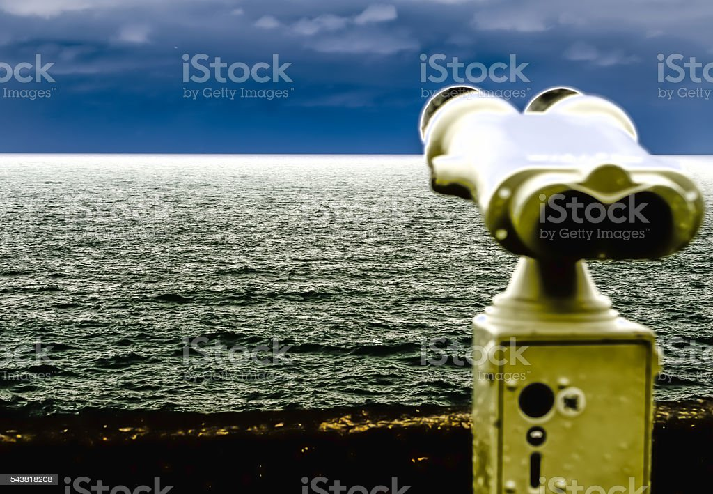 Binoculars, watching the skyline III stock photo