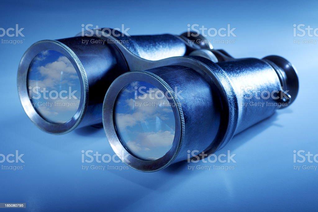 Binoculars with Clouds stock photo