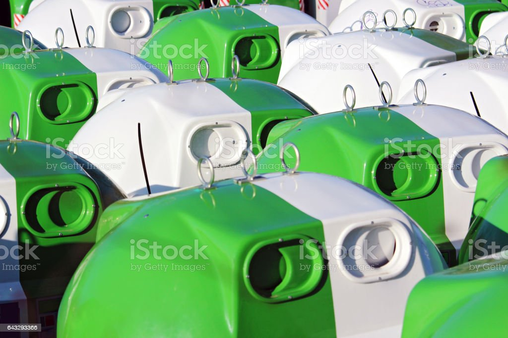 bins waiting to be place on the streets stock photo