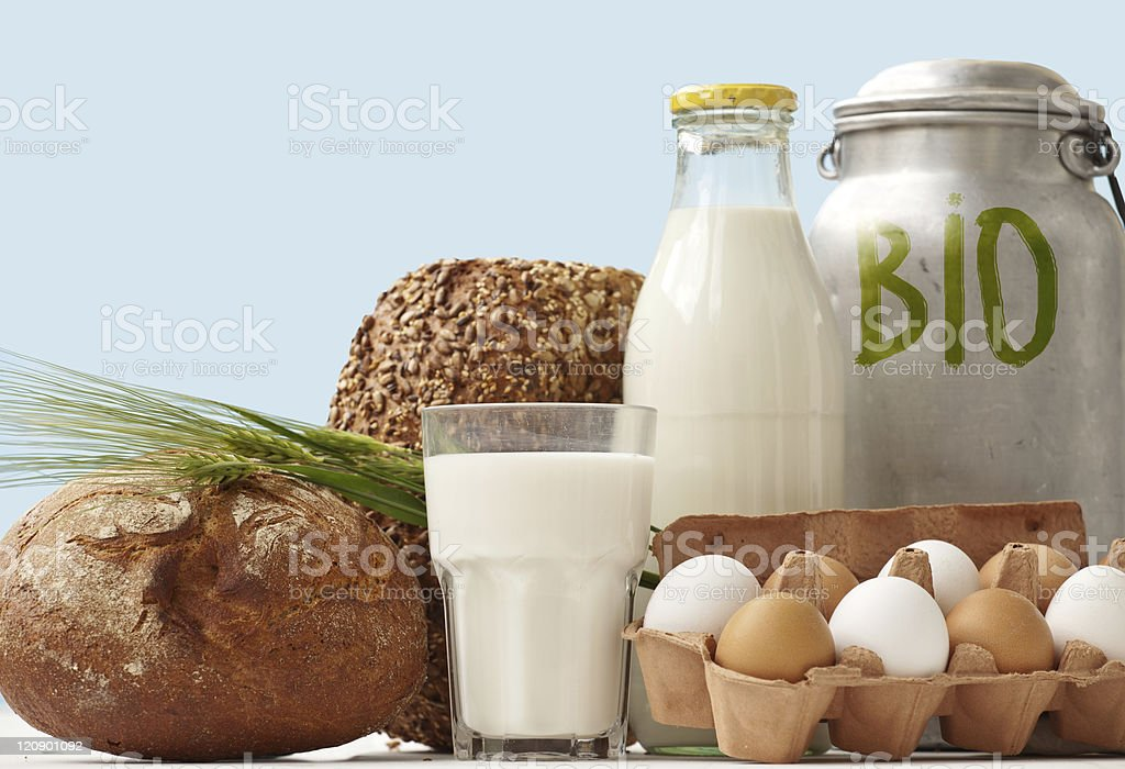 bio Food Staples window Display stock photo