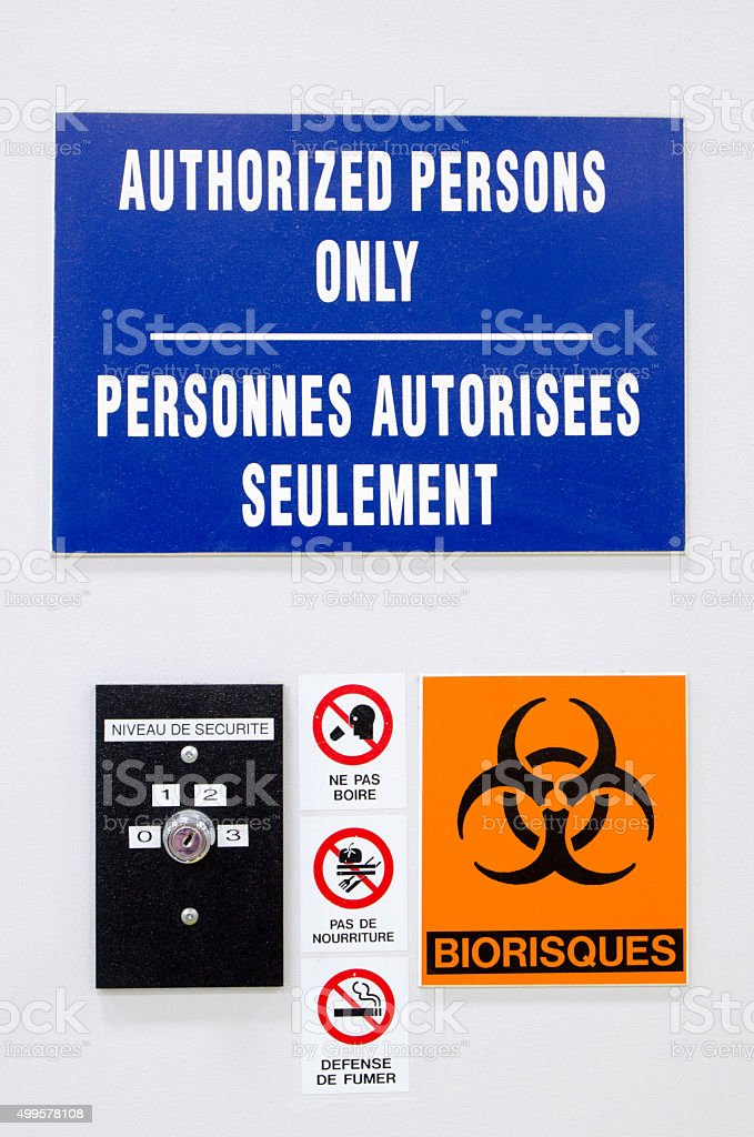 Bio Hazard - Authorized persons only stock photo