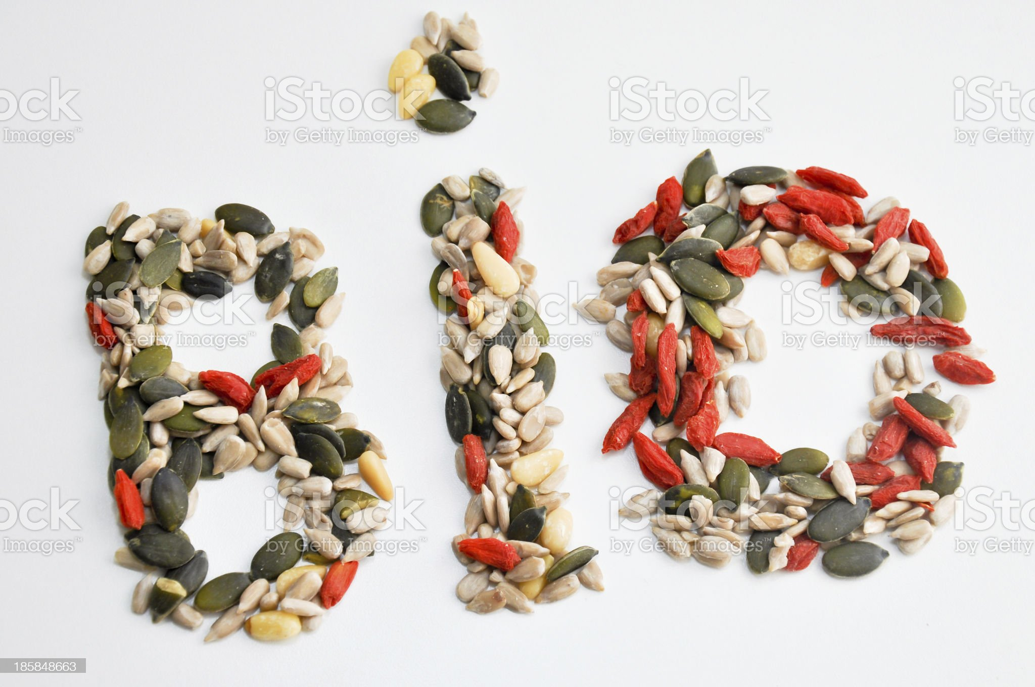 bio sign made with seeds royalty-free stock photo