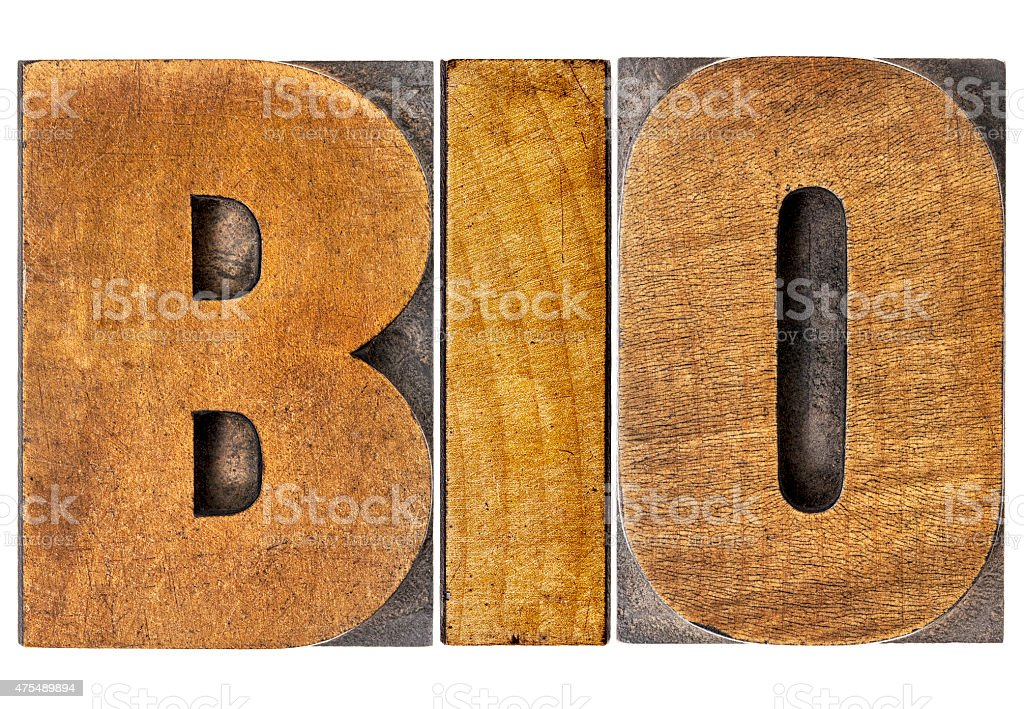 bio word in wood type stock photo