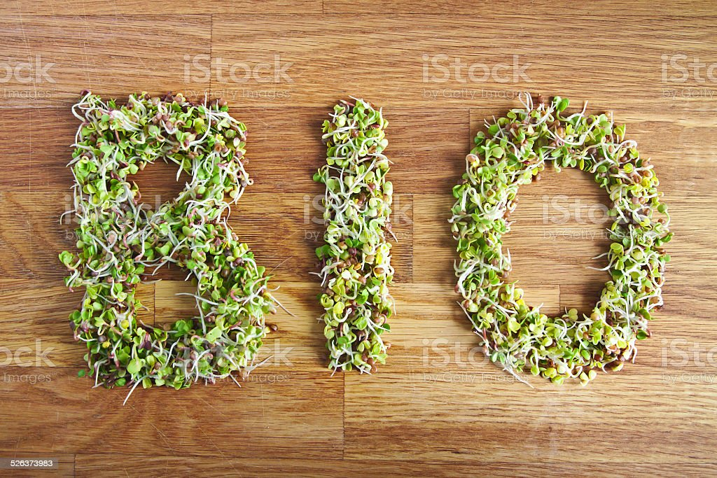 Bio word made of organic sprouts stock photo