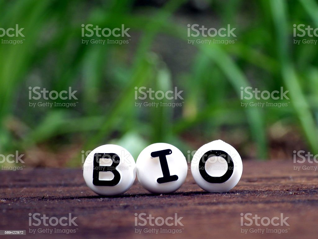 Bio word on Wooden table, Nature Background stock photo